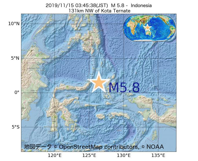 2019年11月15日 03時45分 - インドネシアでM5.8