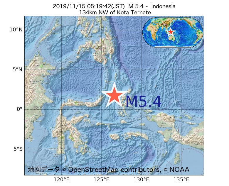 2019年11月15日 05時19分 - インドネシアでM5.4