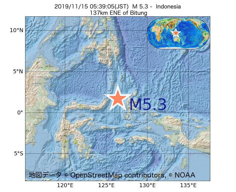 2019年11月15日 05時39分 - インドネシアでM5.3