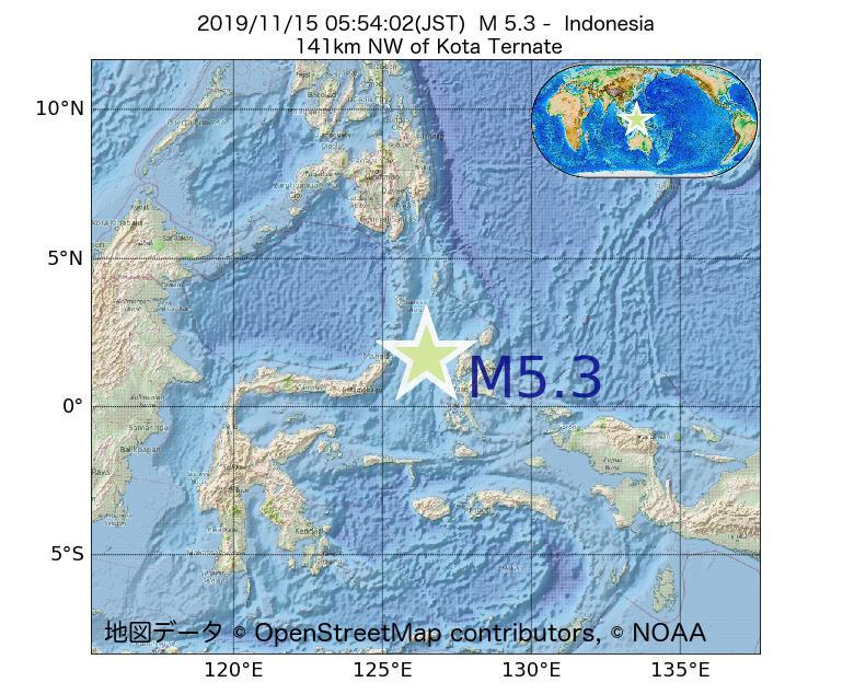 2019年11月15日 05時54分 - インドネシアでM5.3