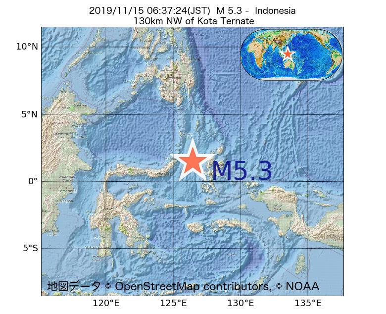 2019年11月15日 06時37分 - インドネシアでM5.3