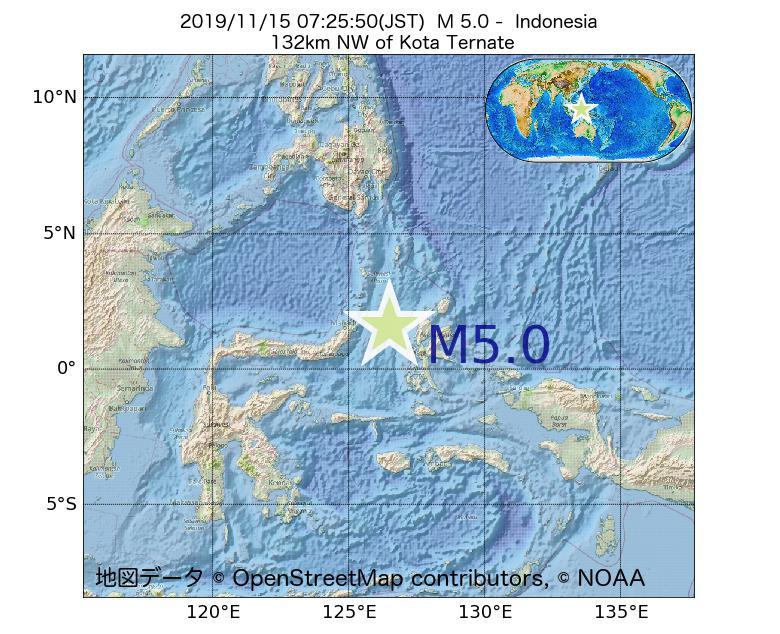 2019年11月15日 07時25分 - インドネシアでM5.0