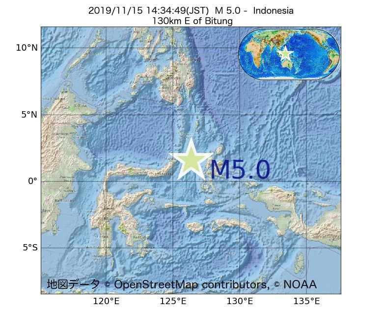 2019年11月15日 14時34分 - インドネシアでM5.0