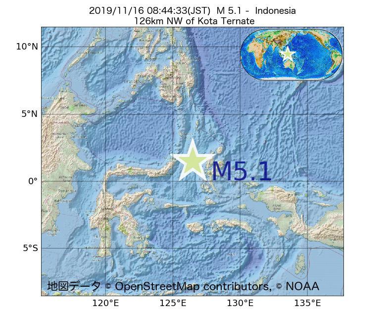 2019年11月16日 08時44分 - インドネシアでM5.1