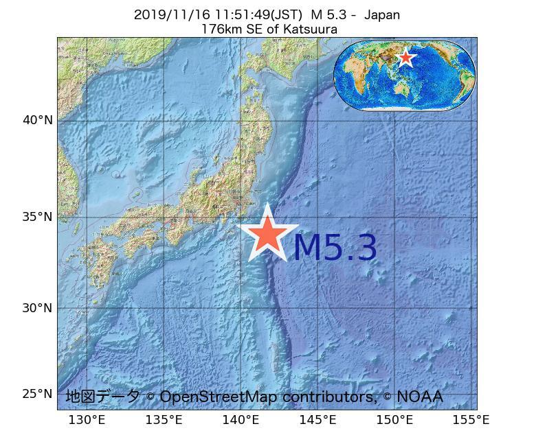 2019年11月16日 11時51分 - 日本でM5.3