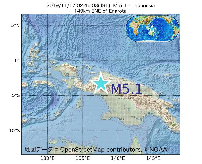 2019年11月17日 02時46分 - インドネシアでM5.1