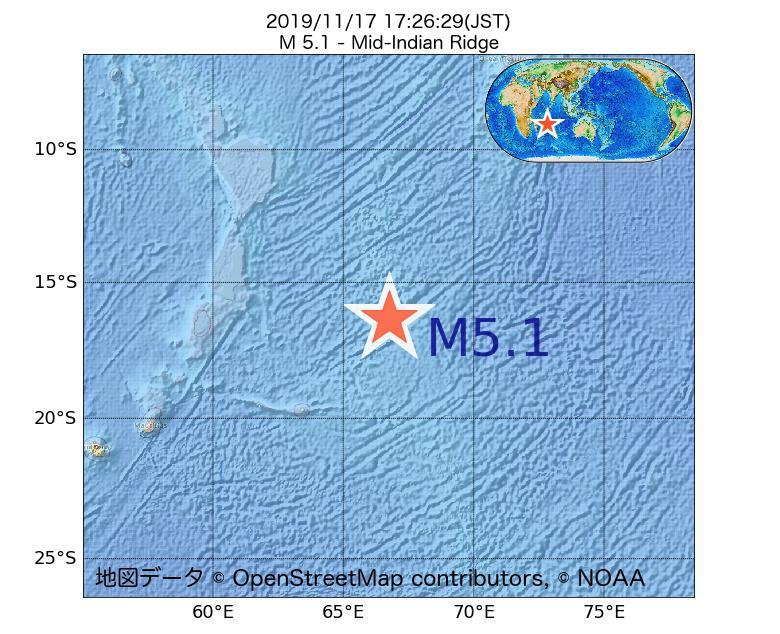 2019年11月17日 17時26分 - インド洋中央海嶺でM5.1