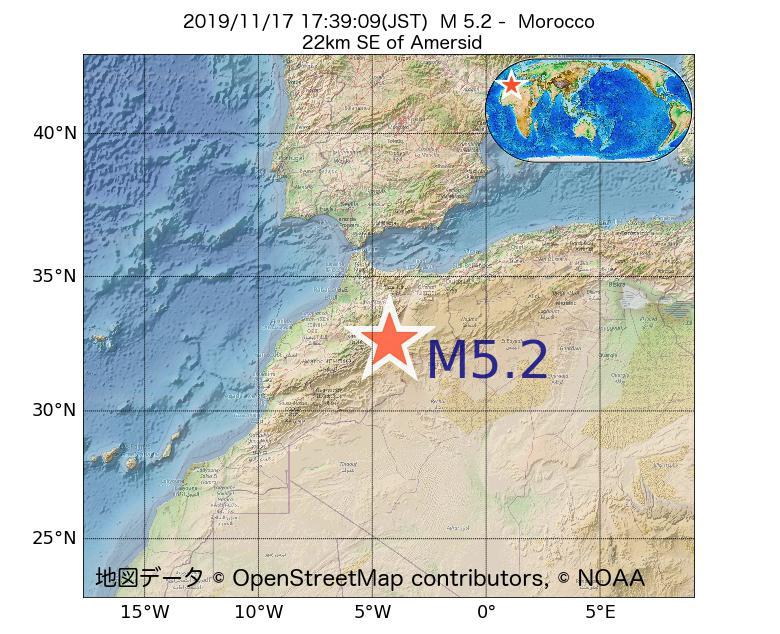 2019年11月17日 17時39分 - モロッコでM5.2