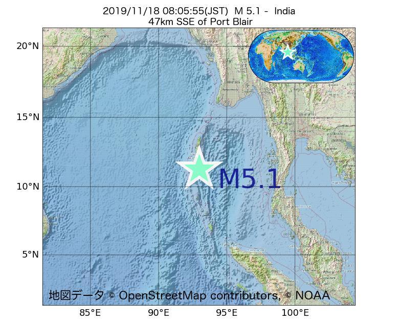 2019年11月18日 08時05分 - インドでM5.1