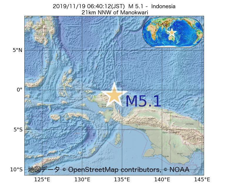 2019年11月19日 06時40分 - インドネシアでM5.1