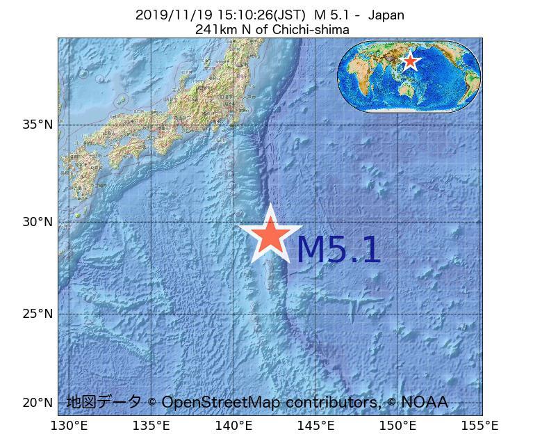 2019年11月19日 15時10分 - 日本でM5.1