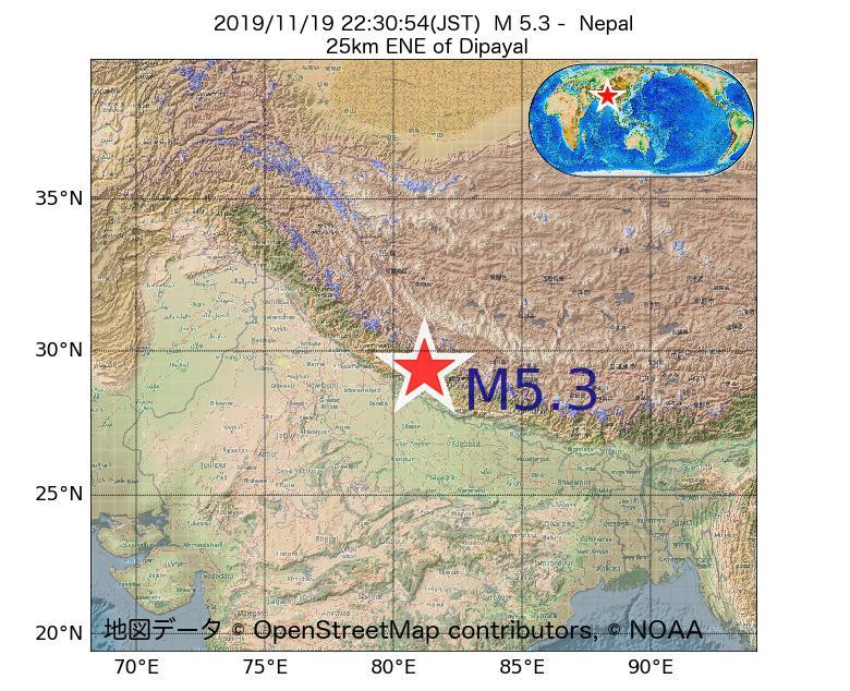 2019年11月19日 22時30分 - ネパールでM5.3