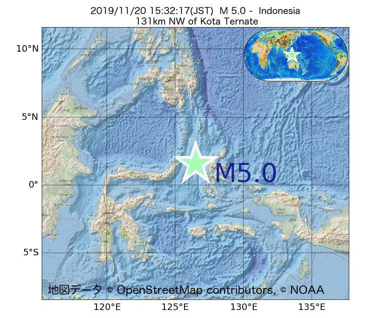 2019年11月20日 15時32分 - インドネシアでM5.0