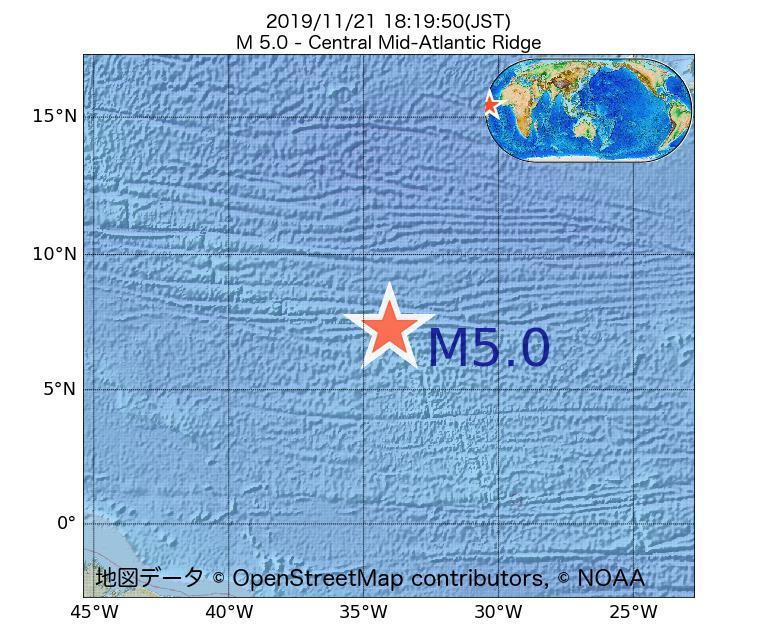 2019年11月21日 18時19分 - 大西洋中央海嶺でM5.0