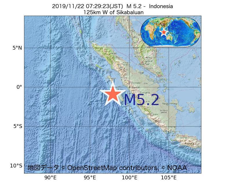 2019年11月22日 07時29分 - インドネシアでM5.2