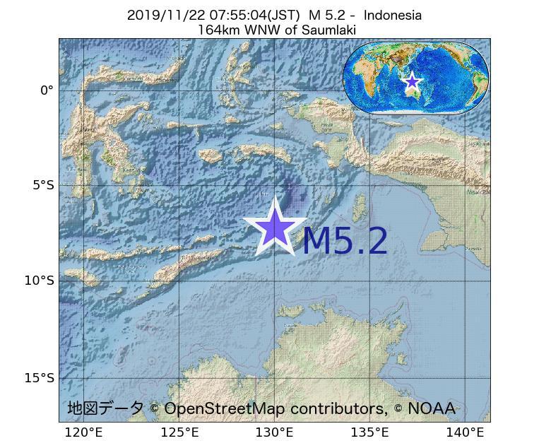 2019年11月22日 07時55分 - インドネシアでM5.2