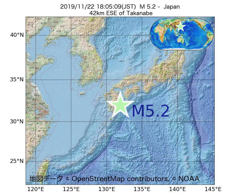 2019年11月22日 18時05分 - 日本でM5.2