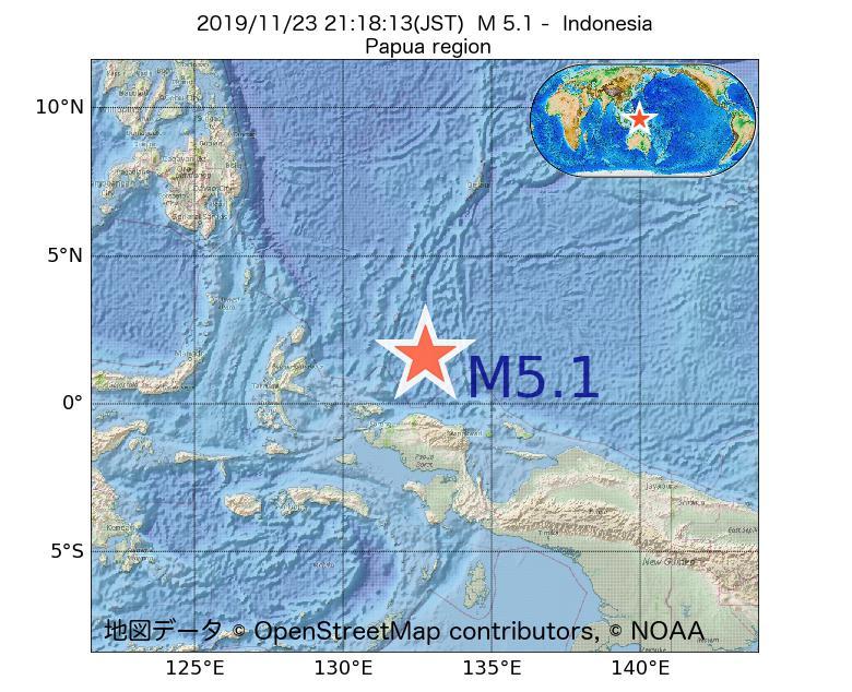 2019年11月23日 21時18分 - インドネシアでM5.1