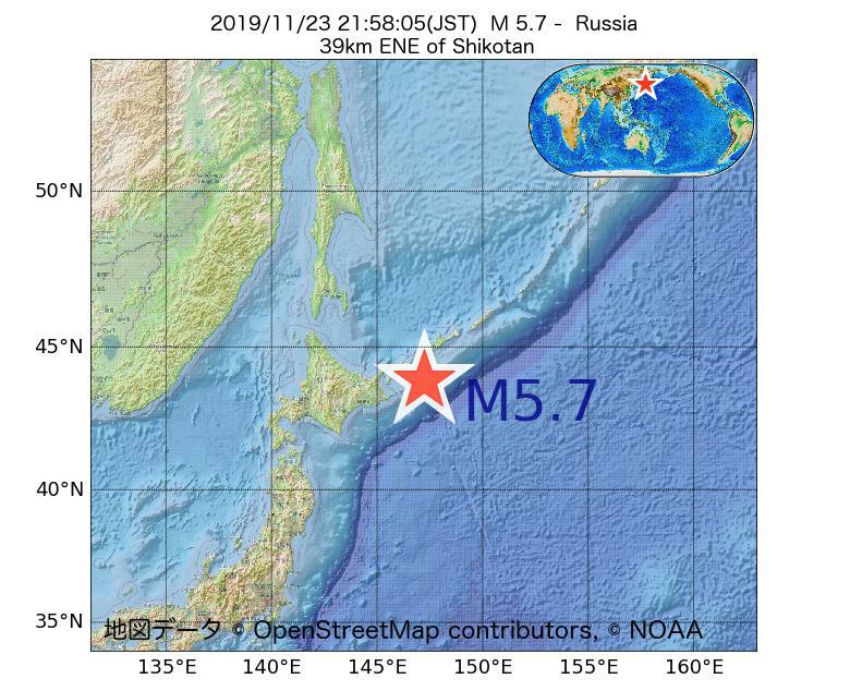 2019年11月23日 21時58分 - ロシアでM5.7