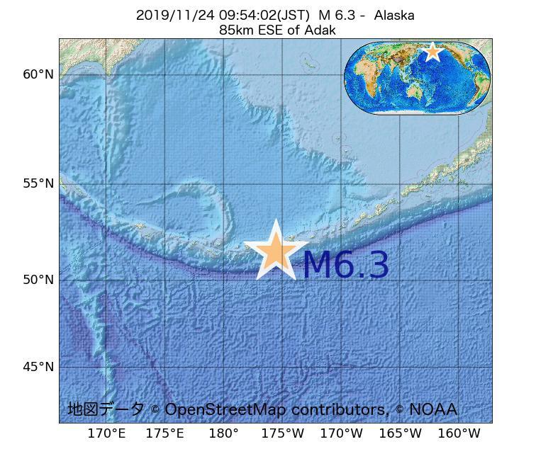 2019年11月24日 09時54分 - アラスカ州でM6.3