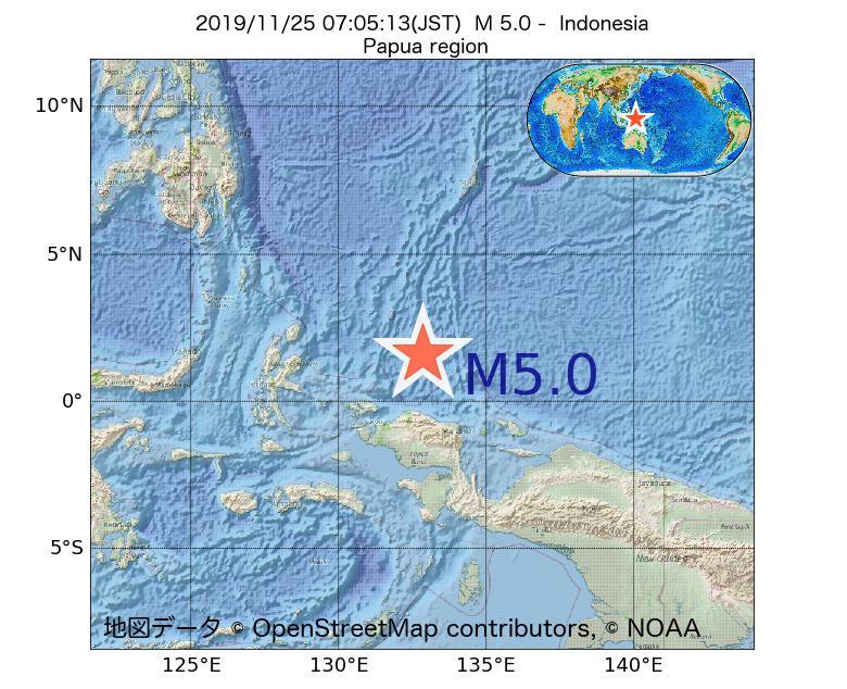 2019年11月25日 07時05分 - インドネシアでM5.0