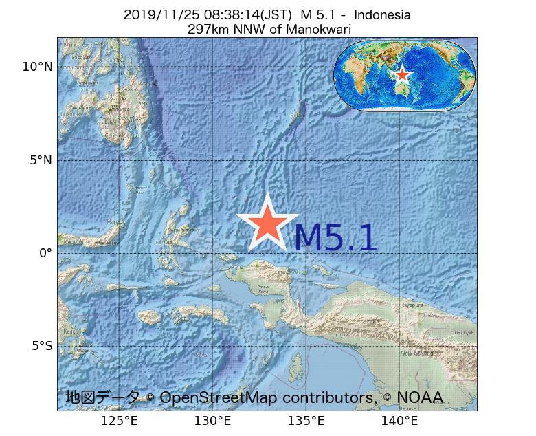2019年11月25日 08時38分 - インドネシアでM5.1