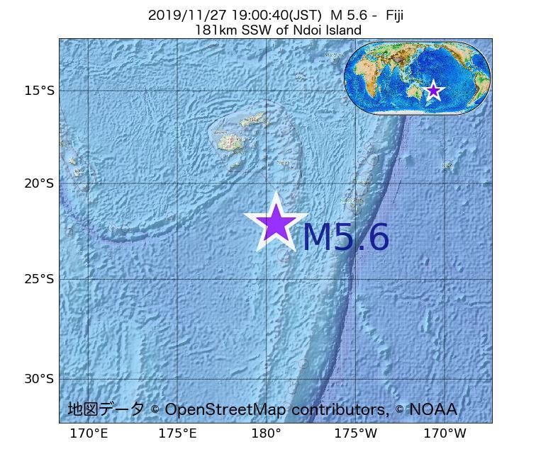 2019年11月27日 19時00分 - フィジーでM5.6