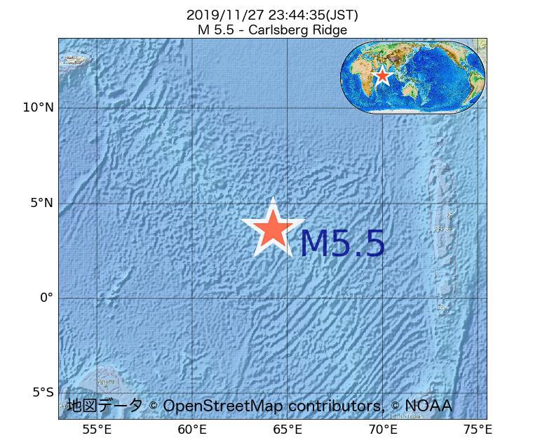 2019年11月27日 23時44分 - カールスバーグ海嶺でM5.5