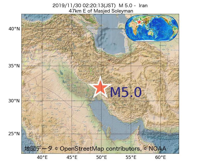 2019年11月30日 02時20分 - イランでM5.0