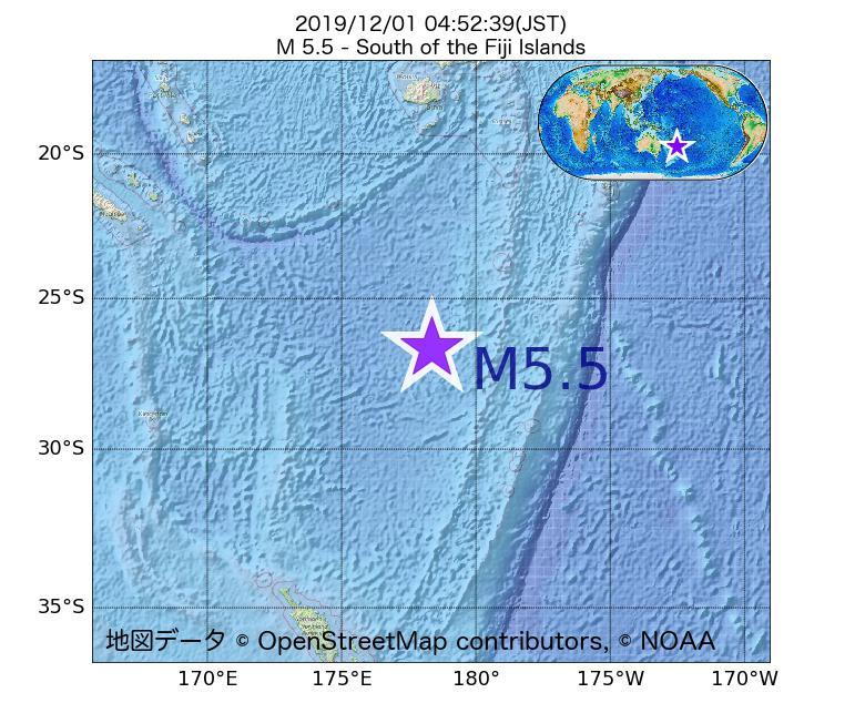 2019年12月01日 04時52分 - フィジー諸島の南でM5.5
