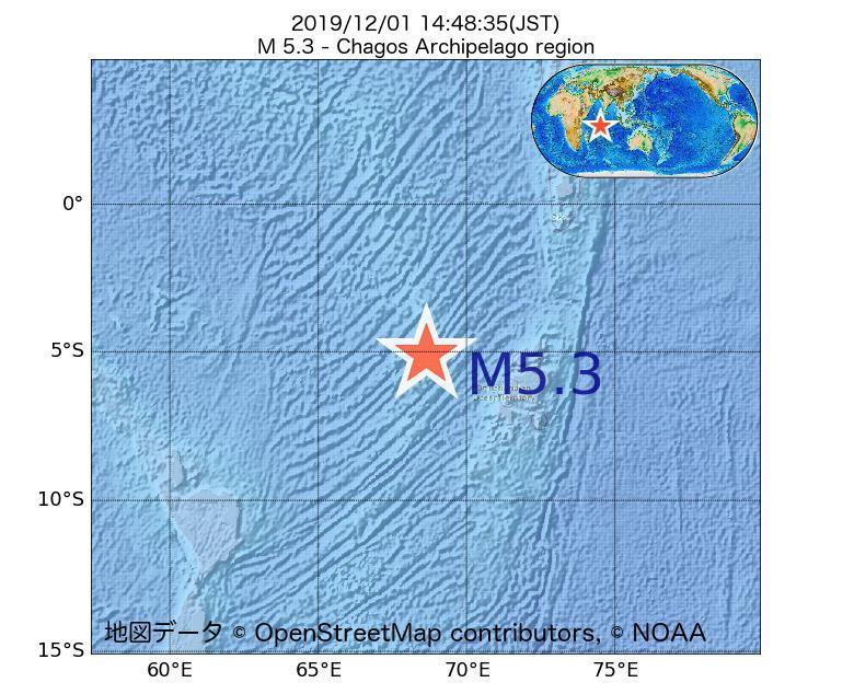 2019年12月01日 14時48分 - チャゴス諸島付近でM5.3