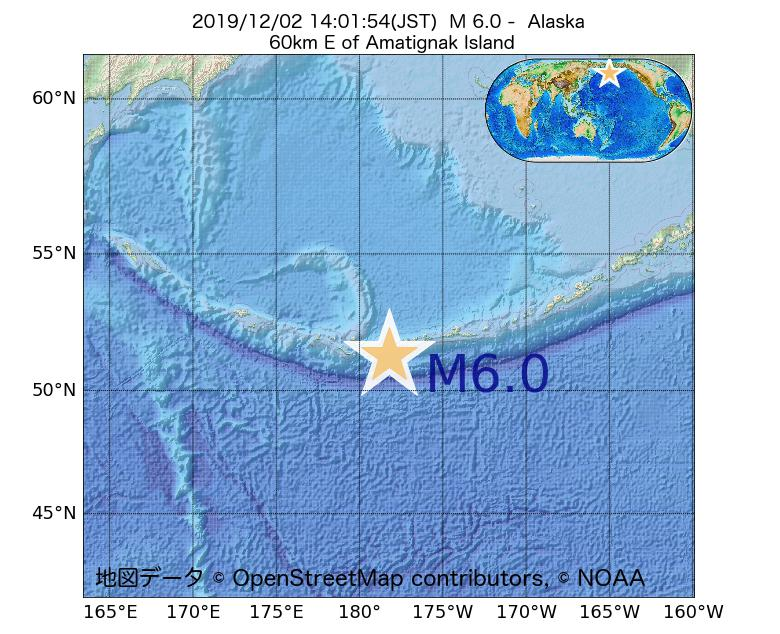 2019年12月02日 14時01分 - アラスカ州でM6.0