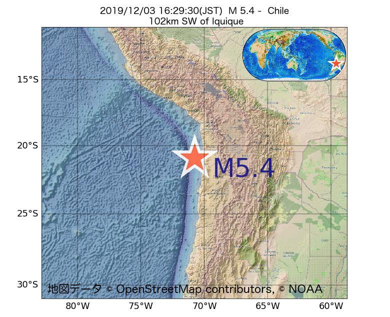 2019年12月03日 16時29分 - チリでM5.4