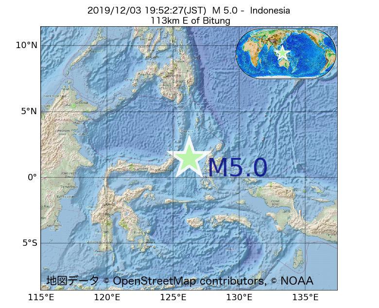 2019年12月03日 19時52分 - インドネシアでM5.0