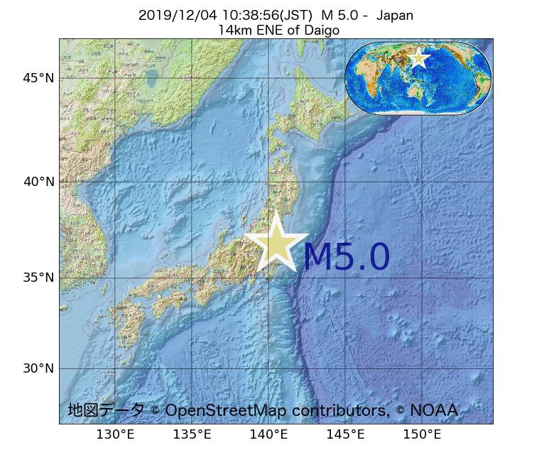 2019年12月04日 10時38分 - 日本でM5.0