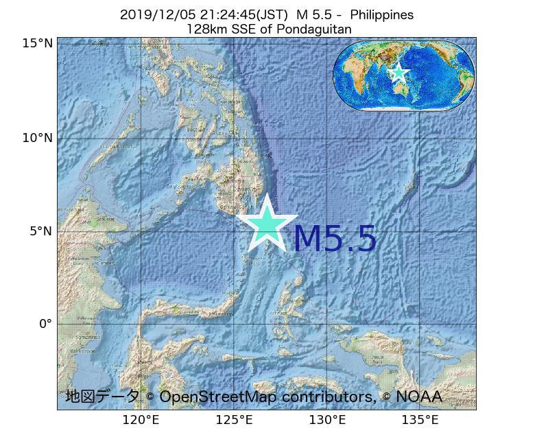 2019年12月05日 21時24分 - フィリピンでM5.5