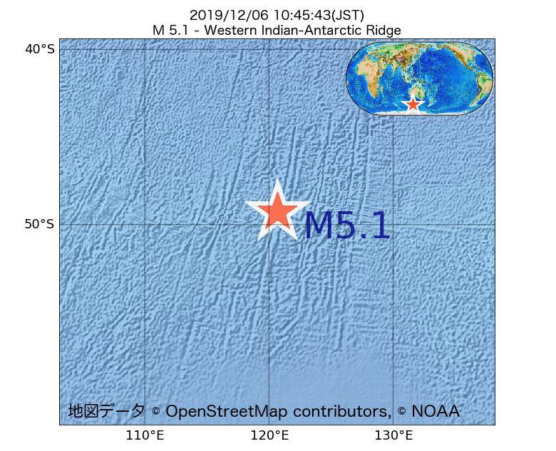 2019年12月06日 10時45分 - 南東インド洋海嶺でM5.1
