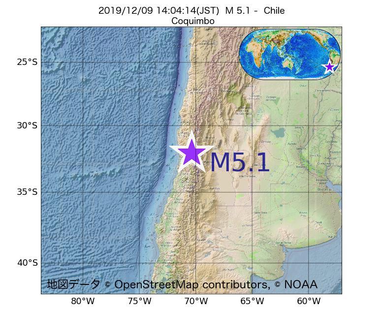 2019年12月09日 14時04分 - チリでM5.1