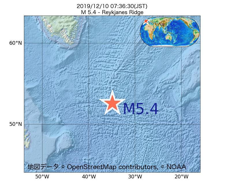2019年12月10日 07時36分 - レイキャネス海嶺でM5.4