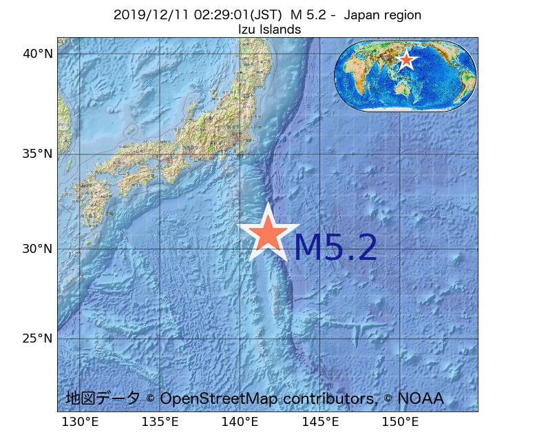 2019年12月11日 02時29分 - 日本周辺でM5.2