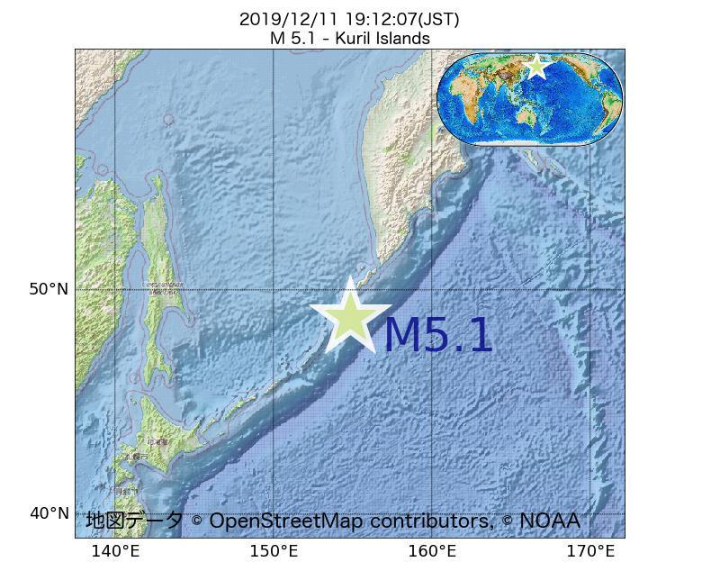2019年12月11日 19時12分 - 千島列島でM5.1