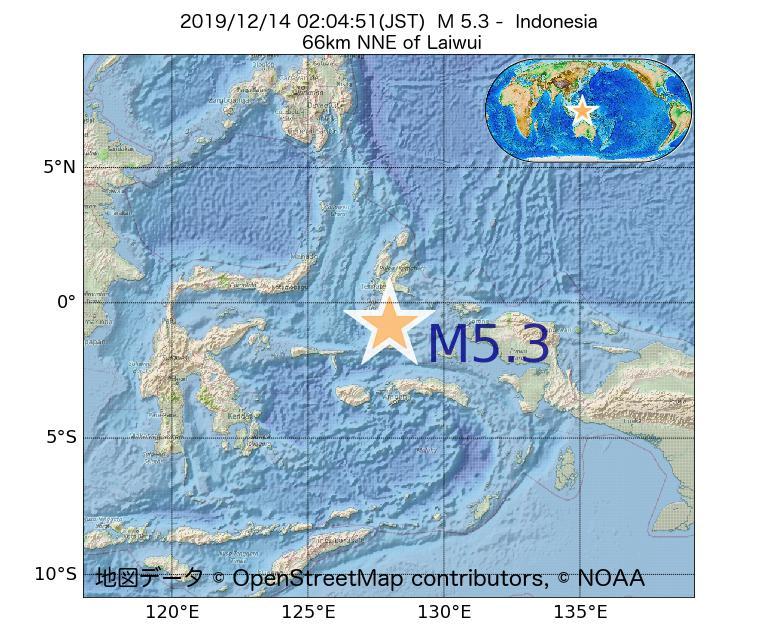 2019年12月14日 02時04分 - インドネシアでM5.3