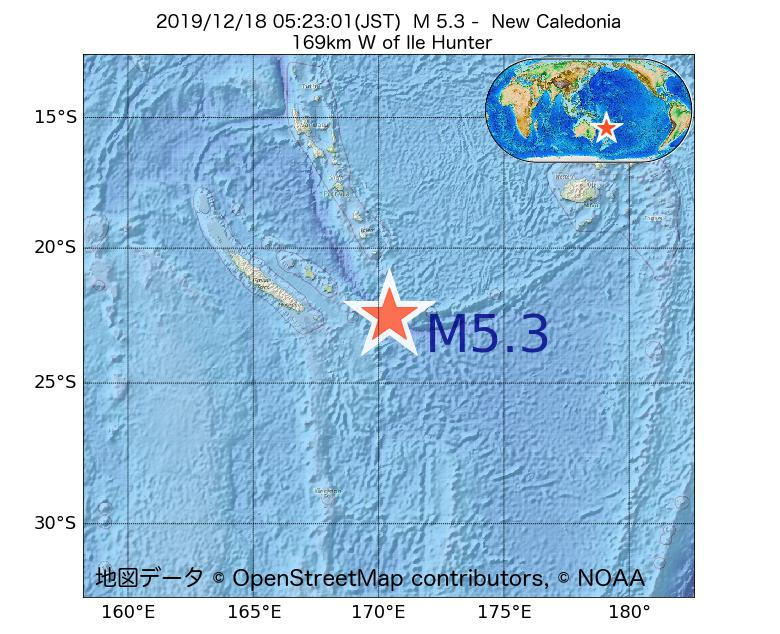 2019年12月18日 05時23分 - ニューカレドニアでM5.3