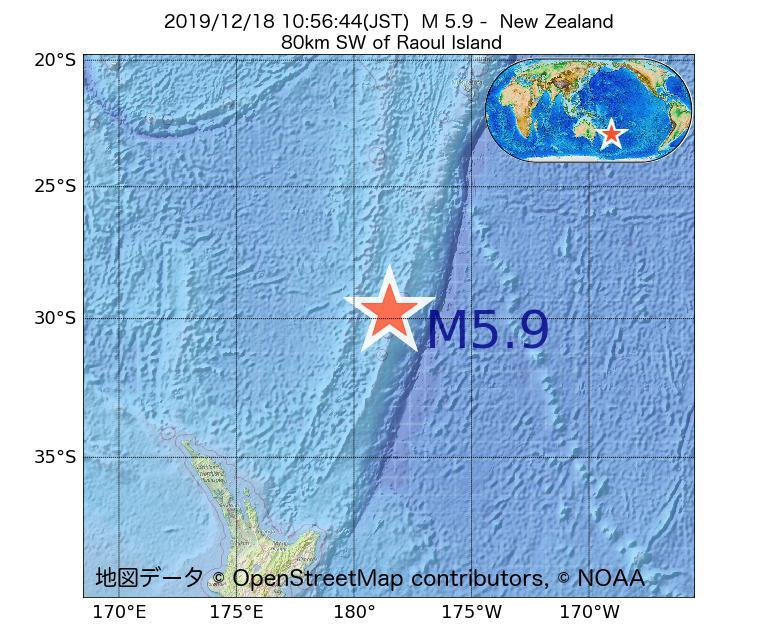 2019年12月18日 10時56分 - ニュージーランドでM5.9