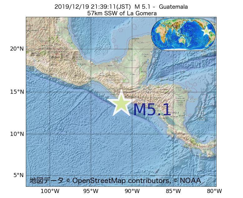 2019年12月19日 21時39分 - グアテマラでM5.1