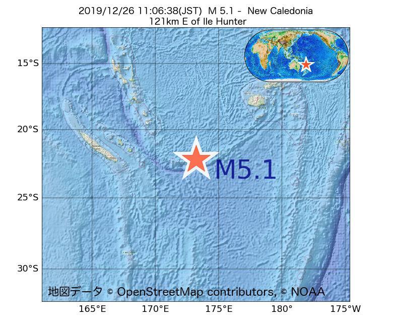 2019年12月26日 11時06分 - ニューカレドニアでM5.1