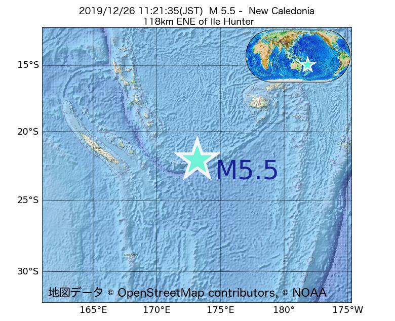 2019年12月26日 11時21分 - ニューカレドニアでM5.5