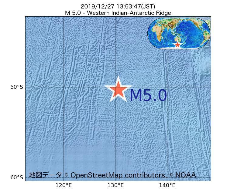 2019年12月27日 13時53分 - 南東インド洋海嶺でM5.0