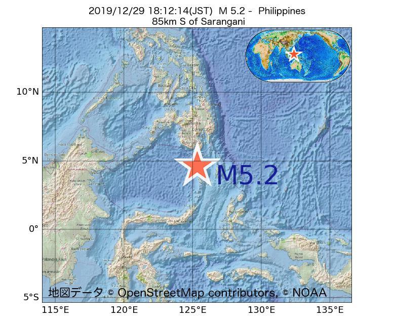 2019年12月29日 18時12分 - フィリピンでM5.2