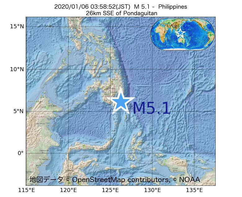 2020年01月06日 03時58分 - フィリピンでM5.1